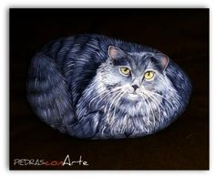 piedra pintada-gato  piedra pintado a mano
