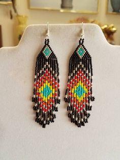 Native American Style Beaded Peacock Eye Earrings Black