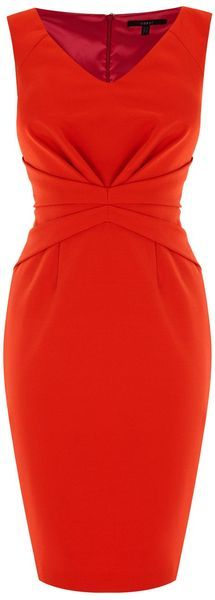 Coast Orange Cinched Waisted Dress