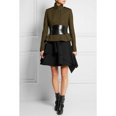 Alexander McQueen Wool-felt peplum jacket (€2.240) ❤ liked on Polyvore featuring outerwear, jackets, woolen jacket, military peplum jacket, wool peplum jacket, alexander mcqueen jacket and felt jacket