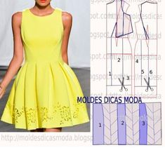 VESTIDO CASUAL - a wat to use a suare pannel for a skirt an keep the entire border. Sewing Patterns Free, Clothing Patterns, Dress Patterns, Fashion Sewing, Diy Fashion, Ideias Fashion, Diy Clothing, Sewing Clothes, Costura Fashion