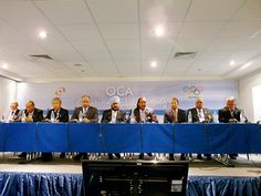 Sheikh Ahmad (fourth from right) in first address to OCA at ANOC general assembly in Moscow. (ATR)  Add Around The Rings on www.Twitter.com/AroundTheRings & www.Facebook.com/AroundTheRings for the latest info on the Olympics.