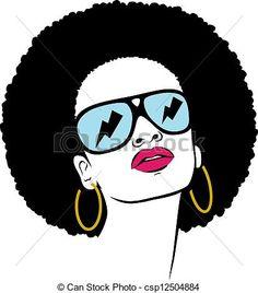 Illustration - Afro, cheveux, hippie, femme, pop, art - Banque d'illustrations, illustrations libres de droits, banque de clip art, icônes clipart, logo, image EPS, images, graphique, graphiques, dessin, dessins, image vectorielle, oeuvre d'art, art vecteur EPS