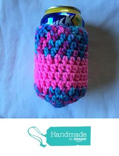 Hot Pink and Variegated Teal Blue and Pink Striped Crocheted Can Coozie 4x5 from Southern Women Crafts https://www.amazon.com/dp/B06XY5LGQP/ref=hnd_sw_r_pi_dp_hEN5ybK1TJDHP #handmadeatamazon