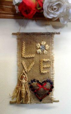 Love Goddess Burlap wall hanging handmade by positivelypagan on Etsy Diy And Crafts Sewing, Handmade Crafts, Arts And Crafts, Diy Crafts, Burlap Wall Hangings, Corn Dolly, Hessian, Love Heart, Pagan