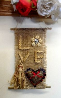 Pagan Valenine. Goddess Freya Corn Dolly & Love Heart Hessian Wall Hanging