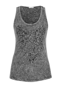 textured patterned tank with rhinestones (original price, $34) available at #Maurices