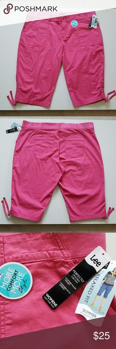 "NWT Hello Spring So Pretty Skimmer New so pretty figure flattering vivid pink skimmer. Very comfy and stylish. Zip button closure and stretch waistband. Some stretch to material for added comfort.  28"" top to bottom. 22"" waist flat plus waistband stretch. Adorable details! Lee Shorts"
