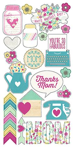 Simple Stories HEY MOM! Collection FUNDAMENTALS Cardstock Stickers You're So Fabulous Discontinued and Hard to Find