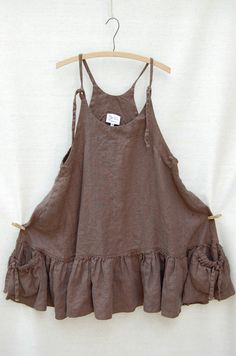 Dresses and Slips - Heart's Desire by Mary Grace Ruffle Bottom Summer Jumper (bayou brown linen)
