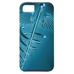 Blue Rod of Asclepius iPhone 5 Cases