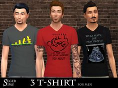 3 T-shirts for men in three different colors and patterns  Found in TSR Category 'Sims 4 Male Everyday'