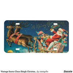 Vintage Santa Claus Sleigh Christmas Holiday License Plate Vintage Santa Claus, Vintage Santas, Holiday Tops, Holiday Cards, Retro Christmas Decorations, Wooden Textures, Christmas Card Holders, Custom Posters, Christmas Holidays