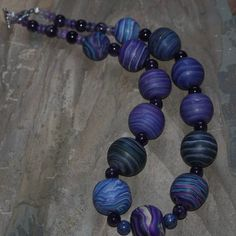 Galaxy Necklace - Deep Space Blue Polymer, Amythyst and Fluorite