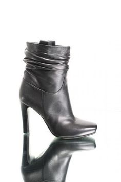 Black Leather Pull On Anckle Boots  20% OFF- Code PINTEREST20