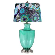Glass table lamp in green with a floral-print drum shade.  Product: Table lampConstruction Material: Glass and fabric...