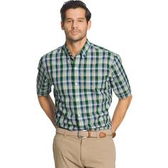 Big & Tall Arrow Plaid Button-Down Shirt, Green Oth