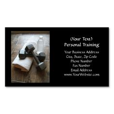 Personal Trainer or Fitness Dumbells Towel and Water Business Card Templates. I love this design! It is available for customization or ready to buy as is. All you need is to add your business info to this template then place the order. It will ship within 24 hours. Just click the image to make your own!