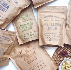 Kraft stand up bags, hand stamped #kraftpackaging #standuppouch #superfood #kraftpaper curated by Copious Bags™