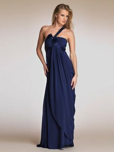 (NO.0255366) Sheath / Column One Shoulder Ruffles  Sleeveless Floor-length Chiffon Prom Dresses / Evening Dresses