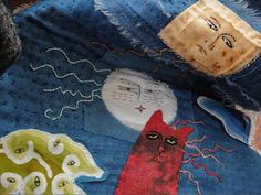 """Interaction"" by Jude Hill - spiritcloth - red cat and white moon with human faces"