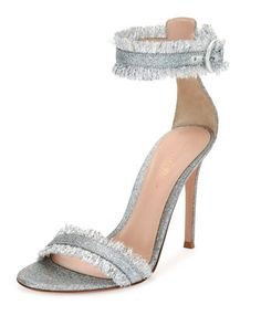 Fringed+Glitter+Fabric+d\'Orsay+Sandal,+Silver+by+Gianvito+Rossi+at+Bergdorf+Goodman.