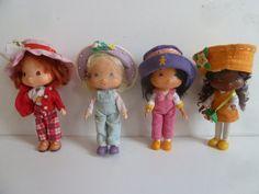 4 Emily Erdbeer Puppe Vintage Püppchen Freundin Larissa Orangella 14cm