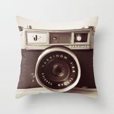 "for my bed.   ""Camera"" Throw Pillow by Tuky Waingan on Society6. @Larisa Warren"