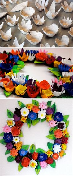 DIY: Make a bright, colorful wreath using cardboard egg carton pieces  painted to look like flowers.