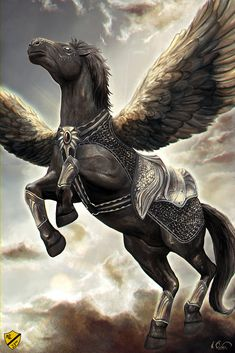 Dark pegasus with barding armor - really captures the graceful yet strong heart of a pegasus