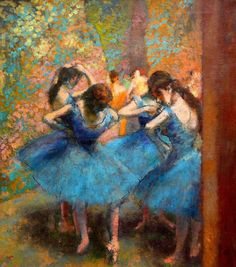 oldtimefriend:  The dancers in blue Paris 1890 Edgar Degas