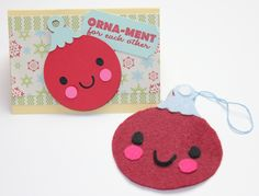 Felt Ornaments and Matching Cards using Lettering Delights and Joy's Life Wintery Puns stamp set: http://joyslife.com/felt-ornaments-and-cards-lettering-delights-jingle-hop
