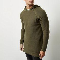 Green perforated longline hoodie