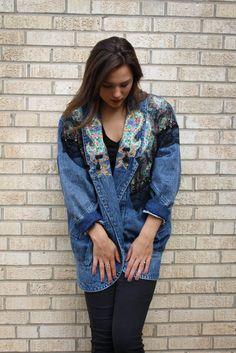 717b90030a How to wear vintage: Amazing unique denim. Denim coat. Denim jacket. Tassels