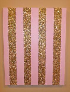 Pink and Gold Sparkle Stripe Canvas Artwork. $65.00, via Etsy.