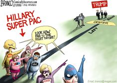 The mainstream media is Hillary Clinton's largest super pac. Political Cartoon by A.F. Branco ©2016.