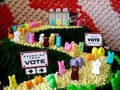 Happy Election day, get out there and vote! Election Night Party, Election Day, Easter Peeps, Easter Brunch, Kansas Day, Peep Show, Marshmallow Treats, Girl Scouts, Food Art