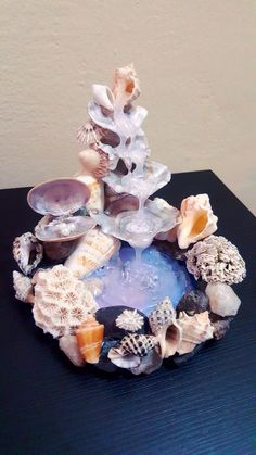 Artificial waterfall created using hot glue and decorated with varied seashells . - Crafts - Artificial waterfall created using hot glue and decorated with varied seashells collected directly - Seashell Art, Seashell Crafts, Seashell Decorations, Fairy Crafts, Sea Crafts, Glue Gun Crafts, Resin Crafts, Mini Fairy Garden, Sea Shells