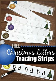 FREE Christmas Letter Tracing Strips - kids will have fun practicing writing uppercase and lowercase Handwriting Worksheets For Kids, Alphabet Worksheets, Free Handwriting, Printable Alphabet, Free Worksheets, Christmas Writing, Christmas Alphabet, Alphabet Activities Kindergarten, Preschool Writing