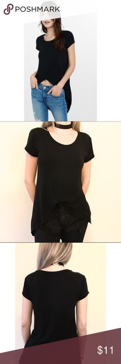 Express Black T-Shirt, Size XS Cute Express Black T-Shirt, Size XS, with longer back side and crossover on the front side. Cotton material, nice flowy fit. Worn maybe 2-3 times. Express Tops Tees - Short Sleeve