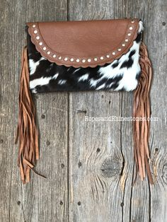 Cowhide & Fringe Purse Cross Body or Clutch - Ropes and Rhinestones Handbags On Sale, Purses And Handbags, Trendy Handbags, Fashion Handbags, Leather Purses, Leather Wallet, Cowhide Purse, Western Purses, Fringe Purse