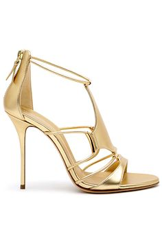 Casadei Golden High Heeled Sandal Spring Summer 2014 #Shoes #Heels #Gold