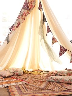 {Join me for some tea and a puff?}  Homemade Wigwam / Tent #bunting #fabric #cushions