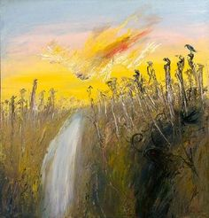 An image of Nebuchadnezzar on fire falling over a waterfall by Arthur Boyd Australian Painting, Australian Artists, Landscape Art, Landscape Paintings, Landscapes, Arthur Boyd, Living In England, Fall Over, Yellow Art
