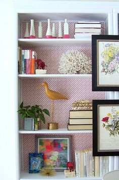 wallpapered shelf