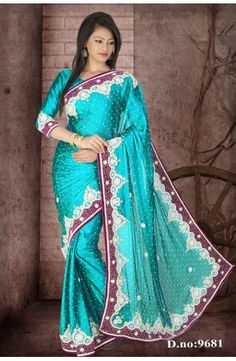 Dark Teal Blue Faux Satin Chiffon Saree with Blouse-D.no.9681  Now, place your Order now : Email:- raksha@silk-india.com