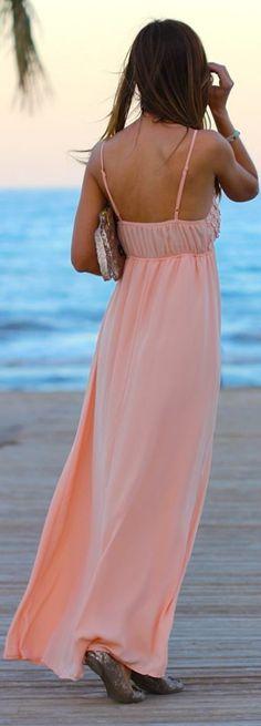 Kuka & Chic Pink Apricot Flowered Maxi Dress