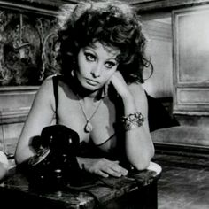 """Sophia Loren shows how its done, waiting for THE call in """"Marriage Italian Style"""" 1964 by Vittorio De Sica. Love this movie, love Sophia Italian Beauty, Italian Style, Loren Sofia, Sophia Loren Images, Turner Classic Movies, Italian Actress, Marlene Dietrich, Star Wars, Vintage Glamour"""