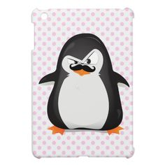 Cute Black  White Penguin And  Funny Mustache Case For The iPad Mini