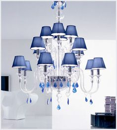 Modern Murano glass 16 lighting candles crystal clear chandelier with blue silk shades and blue Murano glass crystals